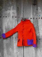 Κόκκινο μπουφάν από felt | Handmade red felt jacket