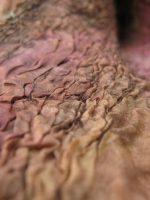 Ροζ-μωβ-καφέ κασκόλ με λουλούδι από felt