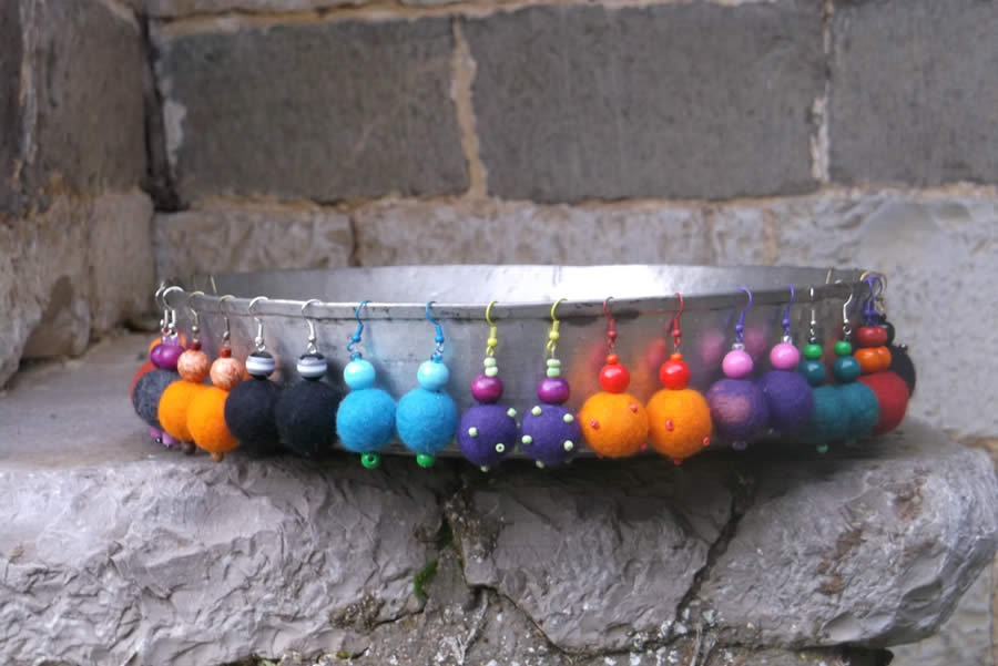 Felt earrings with embroidered beads