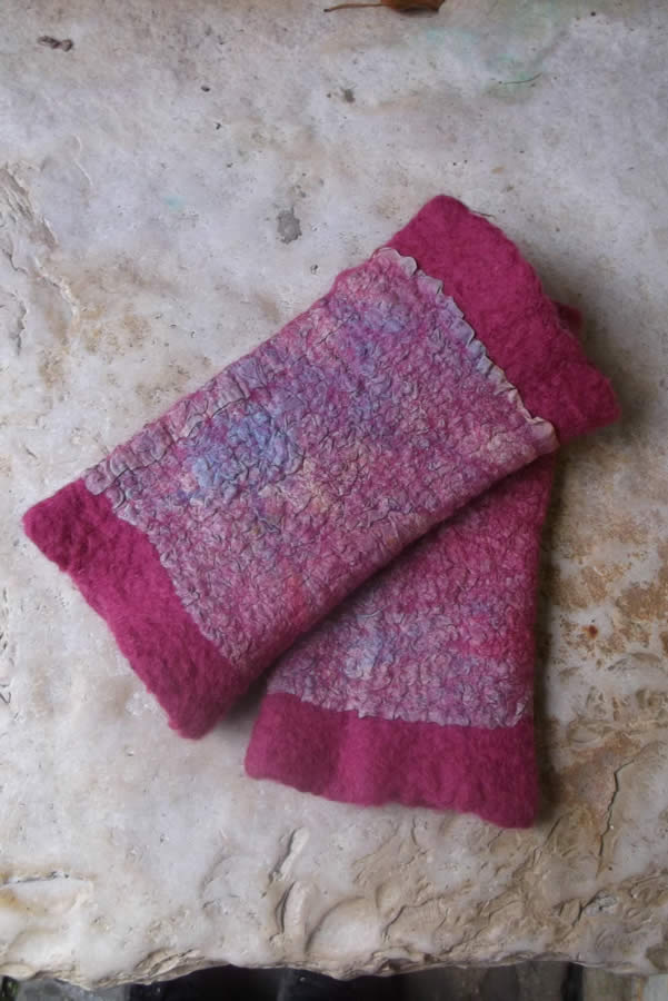 Handmade mitts (pulse warmers), with hand painted silk using the rainbow method